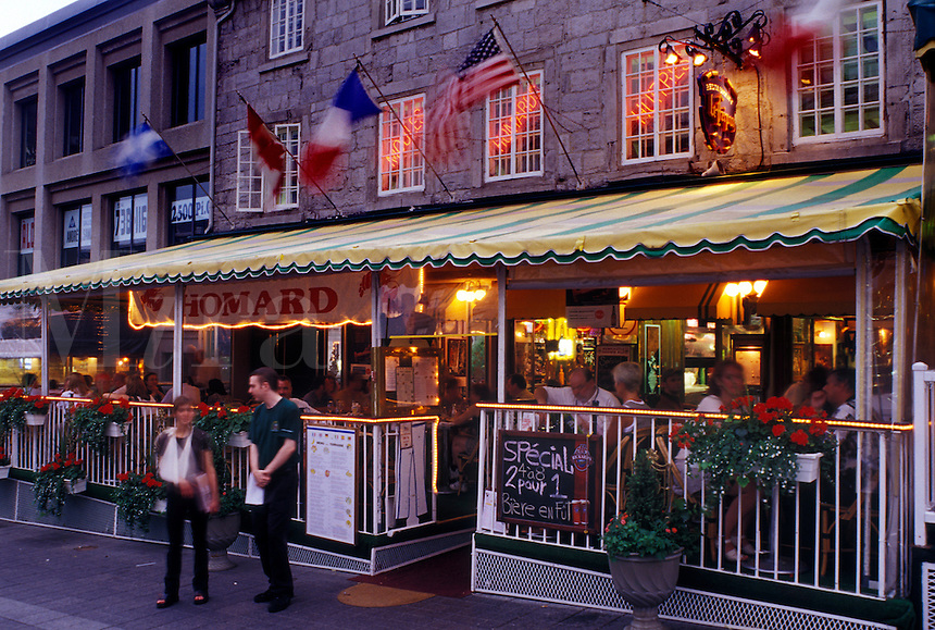 Montreal, Canada, Quebec, Place Jacques Cartier, Outdoor cafés and restaurants along Place Jacques Cartier in the evening in Old Montreal (Vieux Montreal) in Quebec.