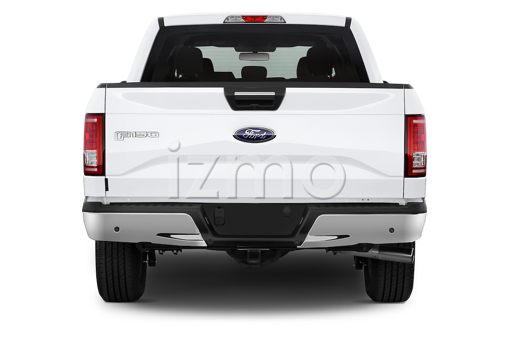 Straight rear view of a 2015 Ford F 150 Xlt 4X2 Ecoboost 5 Door Trucks stock images