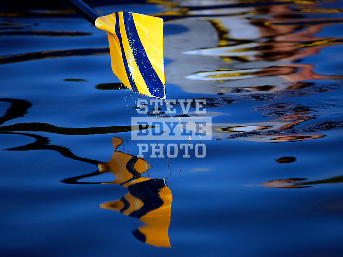 The oar of a boat skims the water during the 68th Dad Vail Regatta on the Schuylkill River in Philadelphia, Pennsylvania on May 12, 2006...............