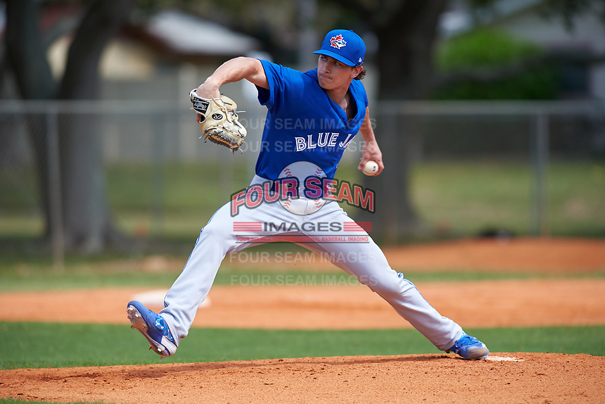 Toronto Blue Jays pitcher Brody Rodning (43) during an exhibition game against the Canada Junior National Team on March 8, 2020 at Baseball City in St. Petersburg, Florida.  (Mike Janes/Four Seam Images)