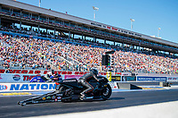 Nov 2, 2019; Las Vegas, NV, USA; NHRA pro stock motorcycle rider Jianna Salinas during qualifying for the Dodge Nationals at The Strip at Las Vegas Motor Speedway. Mandatory Credit: Mark J. Rebilas-USA TODAY Sports