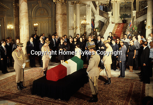 Shah of Iran his state funeral Cairo Egypt. Mohammad Reza Pahlavi, also known as Mohammad Reza Shah. The Shah's  widow and family and President Sadat 1980. The Lying in State at the Abdin Palace.