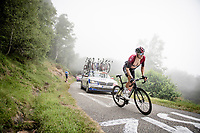 Gianni Moscon (ITA/Ineos) up the very steep section (+16%) of the Mur de Péguère (Cat1/1375m/9.3km/7.9%)<br /> <br /> Stage 15: Limoux to Foix (185km)<br /> 106th Tour de France 2019 (2.UWT)<br /> <br /> ©kramon