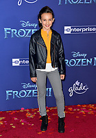 """LOS ANGELES, USA. November 08, 2019: Kaylin Hayman at the world premiere for Disney's """"Frozen 2"""" at the Dolby Theatre.<br /> Picture: Paul Smith/Featureflash"""