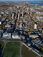 aerial photograph of the soccer field over the McTavish Reservoir, McTavish pumping station at right toward the Olympic Stadium, Montreal, Quebec, Canada | photographie aérienne du terrain de football au-dessus du réservoir McTavish, station de pompage McTavish à droite en direction du Stade olympique, Montréal, Québec, Canada