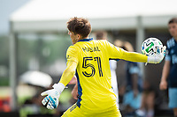 LAKE BUENA VISTA, FL - JULY 23: Thomas Hasal #51 of Vancouver Whitecaps FC throws the ball during a game between Chicago Fire and Vancouver Whitecaps at Wide World of Sports on July 23, 2020 in Lake Buena Vista, Florida.