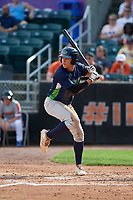 Vermont Lake Monsters Dustin Harris (21) at bat during a NY-Penn League game against the Aberdeen IronBirds on August 18, 2019 at Leidos Field at Ripken Stadium in Aberdeen, Maryland.  Vermont defeated Aberdeen 6-5.  (Mike Janes/Four Seam Images)