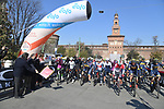 The start of the 112th edition of Milan-San Remo 2021, running 299km from Milan to San Remo, Italy. 20th March 2021. <br /> Photo: LaPresse/Gian Mattia D'Alberto | Cyclefile<br /> <br /> All photos usage must carry mandatory copyright credit (© Cyclefile | LaPresse/Gian Mattia D'Alberto)