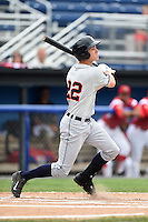 Connecticut Tigers outfielder Ben Verlander (22) at bat during the first game of a doubleheader against the Batavia Muckdogs on July 20, 2014 at Dwyer Stadium in Batavia, New York.  Connecticut defeated Batavia 5-3.  (Mike Janes/Four Seam Images)