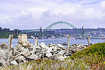 Yaquina Bay Bridge viewed from the south jetty of the Coquille River near South Beach State Park, Newport, Oregon