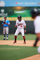 Bowie Baysox Jesmuel Valentin (10) leads off second base during an Eastern League game against the Akron RubberDucks on May 30, 2019 at Prince George's Stadium in Bowie, Maryland.  Akron defeated Bowie 9-5.  (Mike Janes/Four Seam Images)