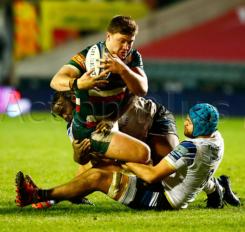 3rd January 2021; Welford Road Stadium, Leicester, Midlands, England; Premiership Rugby, Leicester Tigers versus Bath Rugby; Jasper Wiese of Leicester Tigers is tackled by Zach Mercer of Bath Rugby