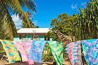 Painted, colorful Tahitian beach shawls blowing in the wind on Bora Bora island, near Tahiti, French Polynesia, Pacific Ocean