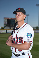 Modesto Nuts shortstop Bryson Brigman (8) poses for a photo before a California League game against the Lake Elsinore Storm at John Thurman Field on May 11, 2018 in Modesto, California. (Zachary Lucy/Four Seam Images)