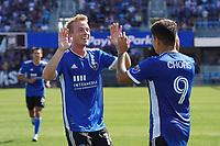 SAN JOSE, CA - AUGUST 8: Jackson Yueill #14 of the San Jose Earthquakes celebrates with Javier Lopez #9 during a game between Los Angeles FC and San Jose Earthquakes at PayPal Park on August 8, 2021 in San Jose, California.