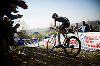 Jolien Verschueren (BEL/Young Telenet-Fidea) leads the race up the Koppenberg and will stay ahead for most of the race (to eventually take the biggest win in her young career)<br /> <br /> Elite Women's race<br /> Koppenbergcross 2015