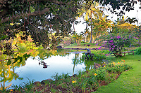 Pond and garden with sculpture at Na Aina Kai Botanical Gardens. Kauai, Hawaii