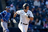 New York Yankees Ben Ruta (97) runs to first base during a Spring Training game against the Toronto Blue Jays on February 22, 2020 at the George M. Steinbrenner Field in Tampa, Florida.  (Mike Janes/Four Seam Images)