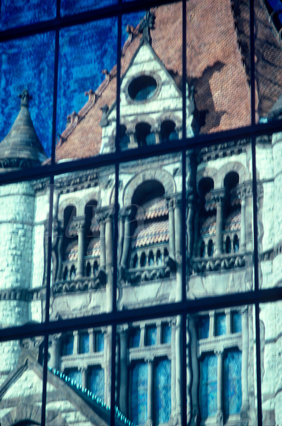 Church reflected in the John Hancock Building