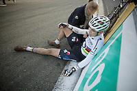 race winner Wout Van Aert (BEL/Vastgoedservice-Golden Palace) collapsed only meters after winning<br /> <br /> Superprestige Francorchamps 2014