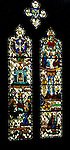 """East Liberty section of Pittsburgh PA:  View of one of the stained glass windows in the Trinity Chapel. This image is included in the book; """"The Art and Architecture of the East Liberty Presbyterian Church"""".  This window along with 4 others was created by Wilbur H. Burnham. The images represent the Apostles Creed in stained glass."""