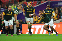 Rudy Paige of South Africa passes during the Killik Cup match between Barbarians and South Africa at Wembley Stadium on Saturday 5th November 2016 (Photo by Rob Munro)