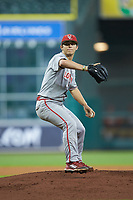 Louisiana Ragin' Cajuns starting pitcher Austin Perrin (27) in action against the Kentucky Wildcats in game seven of the 2018 Shriners Hospitals for Children College Classic at Minute Maid Park on March 4, 2018 in Houston, Texas.  The Wildcats defeated the Ragin' Cajuns 10-4. (Brian Westerholt/Four Seam Images)