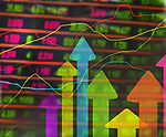 Dynamic abstract image of arrows and graph lines over stock market figures