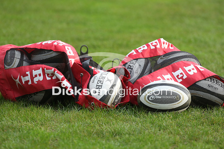 Thursday 18th February 2021 | Ulster Rugby Captain's Run<br /> <br /> Match balls during Ulster Rugby Captain's Run held at Kingspan Stadium, Ravenhill Park, Belfast, Northern Ireland, ahead of the Glasgow PRO14clash on Friday night. Photo by John Dickson / Dicksondigital