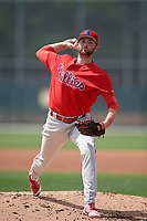 Philadelphia Phillies Colton Eastman (34) during a minor league Spring Training game against the Pittsburgh Pirates on March 13, 2019 at Pirate City in Bradenton, Florida.  (Mike Janes/Four Seam Images)