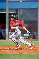 GCL Twins second baseman Ricky De La Torre (70) hits an infield single during the first game of a doubleheader against the GCL Rays on July 18, 2017 at Charlotte Sports Park in Port Charlotte, Florida.  GCL Twins defeated the GCL Rays 11-5 in a continuation of a game that was suspended on July 17th at CenturyLink Sports Complex in Fort Myers, Florida due to inclement weather.  (Mike Janes/Four Seam Images)