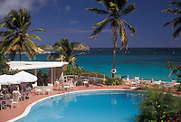 AJ2448, resort, Antigua, pool, Caribbean, Caribbean Islands, Swimming pool at hotel with palm trees on Half Moon Bay on the island of Antigua (a British Commonwealth member).