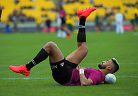 NZ's Rieko Ioane stretches during the Bledisloe Cup rugby union match between the New Zealand All Blacks and Australia Wallabies at Sky Stadium in Wellington, New Zealand on Saturday, 27 July 2020. Photo: Dave Lintott / lintottphoto.co.nz