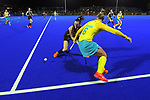 NZ's Kelsey Smith tackles Penny Squib during the Sentinel Homes Trans Tasman Series hockey match between the New Zealand Black Sticks Women and the Australian Hockeyroos at Massey University Hockey Turf in Palmerston North, New Zealand on Tuesday, 1 June 2021. Photo: Dave Lintott / lintottphoto.co.nz