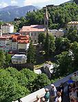 Oesterreich, Salzburger Land, Gasteiner Tal, Bad Gastein: Ortsansicht mit Pfarrkiche | Austria, Salzburger Land, Gasteiner Valley, Bad Gastein: overview with parish church
