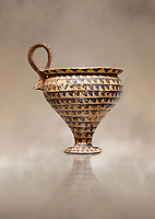 Minoan clay cup decorted design, Speial Palatial Style , Knossos Palace 1500-1450 BC BC, Heraklion Archaeological  Museum.
