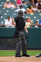 Umpire Brian Peterson during the first game of a doubleheader between the Akron RubberDucks and Bowie Baysox on June 5, 2016 at Prince George's Stadium in Bowie, Maryland.  Bowie defeated Akron 6-0.  (Mike Janes/Four Seam Images)