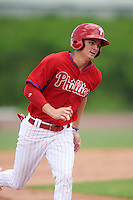 GCL Phillies center fielder Mickey Moniak (15) running the bases during a game against the GCL Braves on August 3, 2016 at the Carpenter Complex in Clearwater, Florida.  GCL Phillies defeated the GCL Braves 4-3 in a six inning rain shortened game.  (Mike Janes/Four Seam Images)