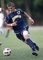 Quinnipiac University forward William Daniels (17) on the attack. Boston College defeated Quinnipiac, 5-0, at Newton Soccer Field, September 1, 2011.