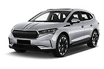 2021 Skoda Enyaq-iV 80 5 Door SUV Angular Front automotive stock photos of front three quarter view