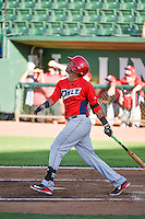 Steven Mateo (9) of the Orem Owlz at bat against the Ogden Raptors in Pioneer League action at Lindquist Field on June 18, 2015 in Ogden, Utah.  This was Opening Night play of the 2015 Pioneer League season. (Stephen Smith/Four Seam Images)