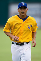 Ivan DeJesus Jr. (11) of the Jacksonville Suns gets loose prior to the game at the Baseball Grounds in Jacksonville, FL, Wednesday June 11, 2008.