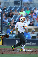 Carlos Cortes (14) of the East team bats during the 2015 Perfect Game All-American Classic at Petco Park on August 16, 2015 in San Diego, California. The East squad defeated the West, 3-1. (Larry Goren/Four Seam Images)