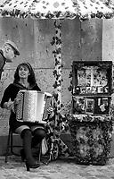09.2001 <br /> <br /> Severine playing accordeon in Monmartre near holly heart church.<br /> <br /> Severine jouant de l'accordeon a Montmartre près du sacré coeur.