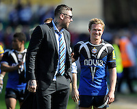 Michael Classens of Bath Rugby with team mate Ryan Caldwell after the Aviva Premiership match between Bath Rugby and Leicester Tigers at The Recreation Ground on Saturday 20th April 2013 (Photo by Rob Munro)