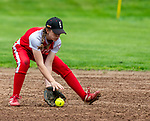 WOLCOTT, CT 051021JS17—Wolcott'sAbby Wrinn  (1) fields a  ground ball during their NVL softball game against Torrington  Monday at Wolcott High School. Jim Shannon Republican American