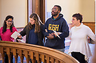 March 21, 2019; Participants link arms and sing 'We Shall Overcome' at the close of a prayer service in memory of the victims of the Mar. 15 New Zealand mosque attacks. (Photo by Matt Cashore/University of Notre Dame)