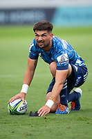 March 14th 2020, Eden Park, Auckland, New Zealand;  Blues 1st-five Otere Black sets up for a penalty kick against the Lions during the Super Rugby match between the Blues and the Lions, held at Eden Park, Auckland, New Zealand.