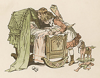 Two children peer into the cradle to see their new baby brother. / Illustration by Woldemar Friedrich in Home Sunbeams / 1893