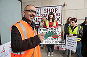 Onay Kasab, Unite Regional Organiser.  Picket of the Woolwich Centre on the first day of a Unite official strike by Greenwich library workers over plans to contract out the service to GLL, a social enterprise.
